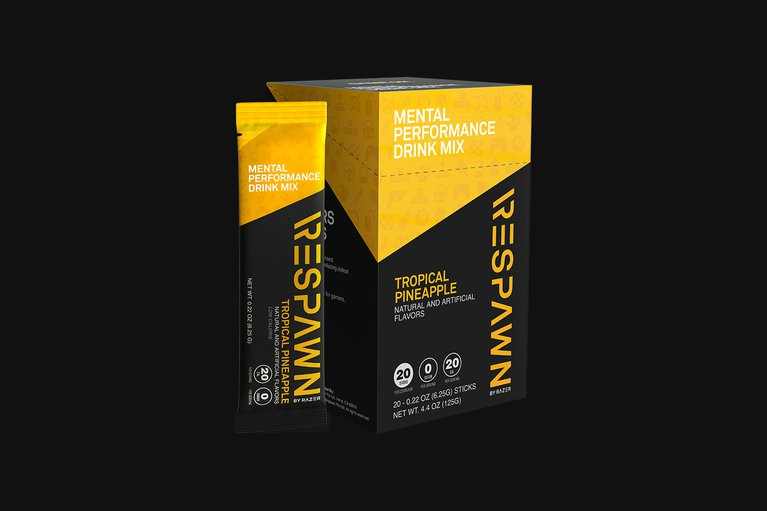 RESPAWN Mental Performance Drink Mix - Tropical Pineapple - Box (20 Individual Packets)