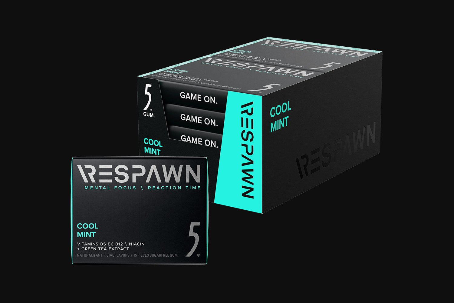 RESPAWN By 5 - Cool Mint Mental Performance Booster Gum