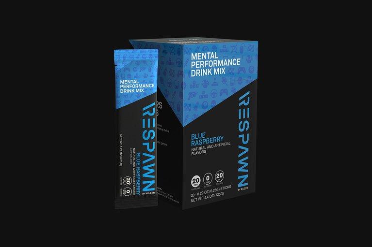 RESPAWN Mental Performance Drink Mix - Blue Raspberry - Box (20 Individual Packets)