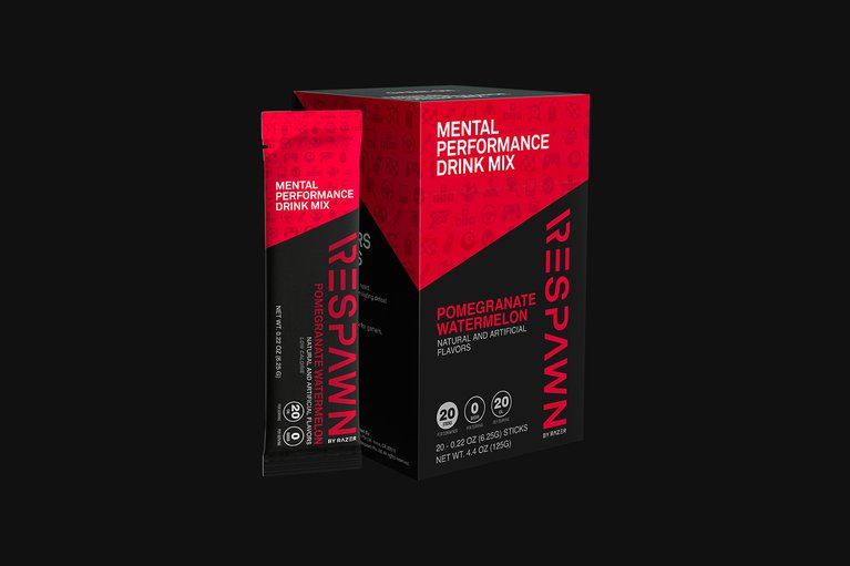 RESPAWN Mental Performance Drink Mix - Pomegranate Watermelon - Box (20 Individual Packets)